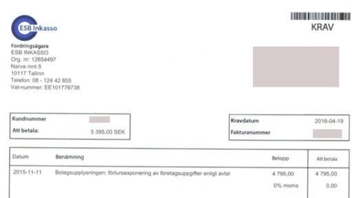 """ESB Inkasso skrämmer lurade """"kunder"""""""
