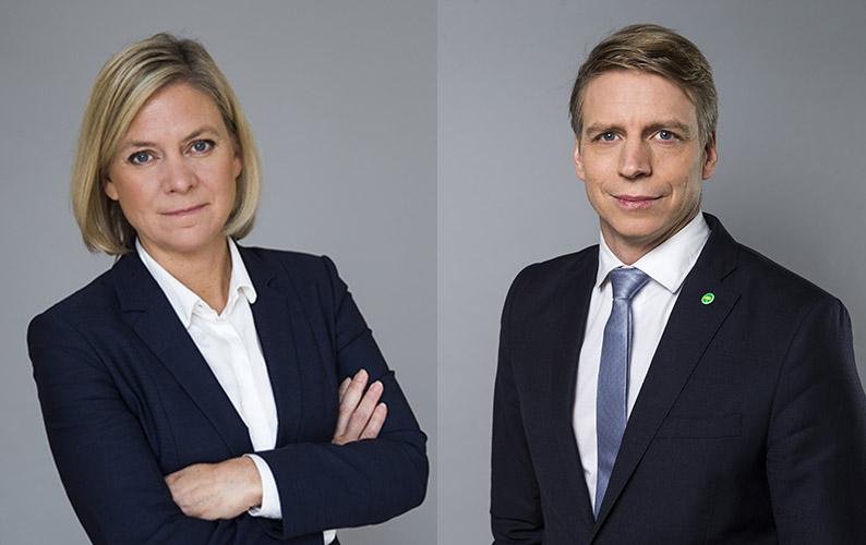 Magdalena Andersson och Per Bolund backar om 3:12-reglerna. FOTO: KRISTIAN POHL/REGERINGSKANSLIET