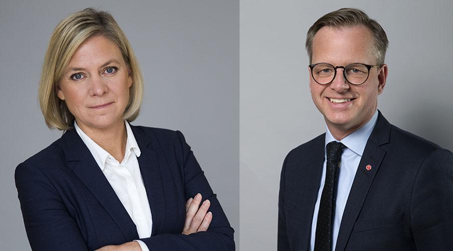 <![CDATA[Finansminister Magdalena Andersson och näringsminister Mikael Damberg. FOTO KRISTIAN POHL]]>