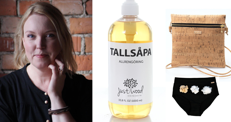 Kläder, rengöring, smycken och väskor. Stina Gunnarsson gör allt i trä.