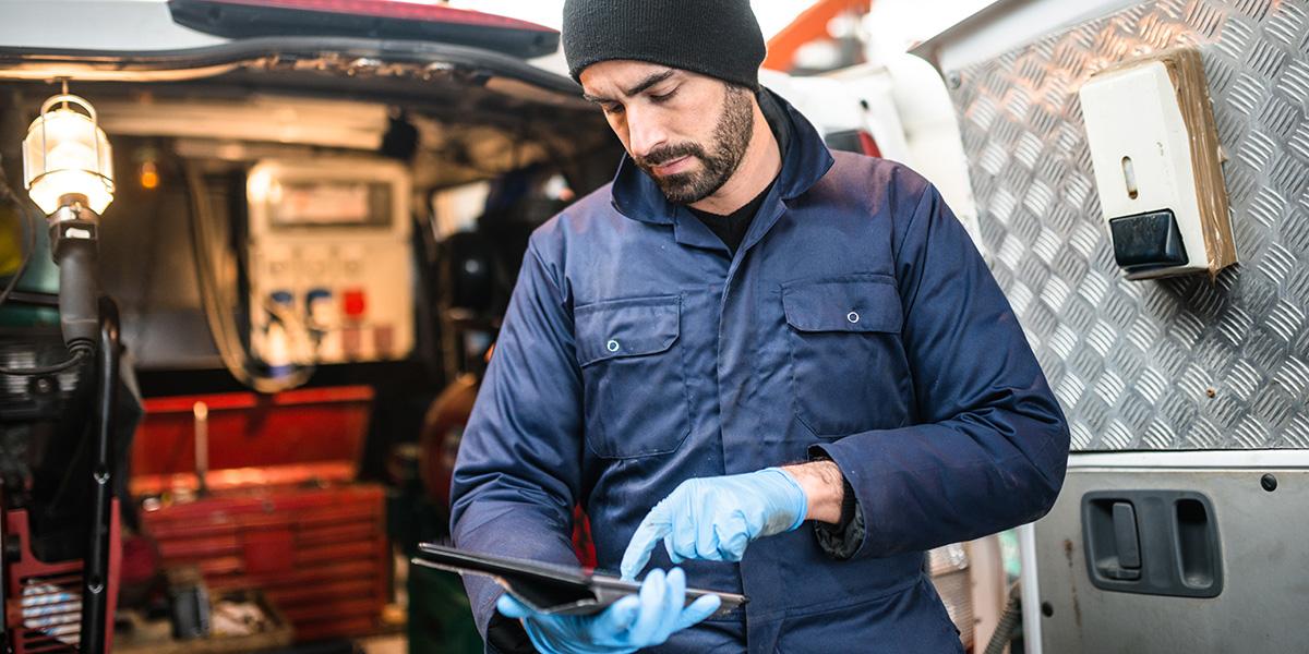 mechanic technician on a garage